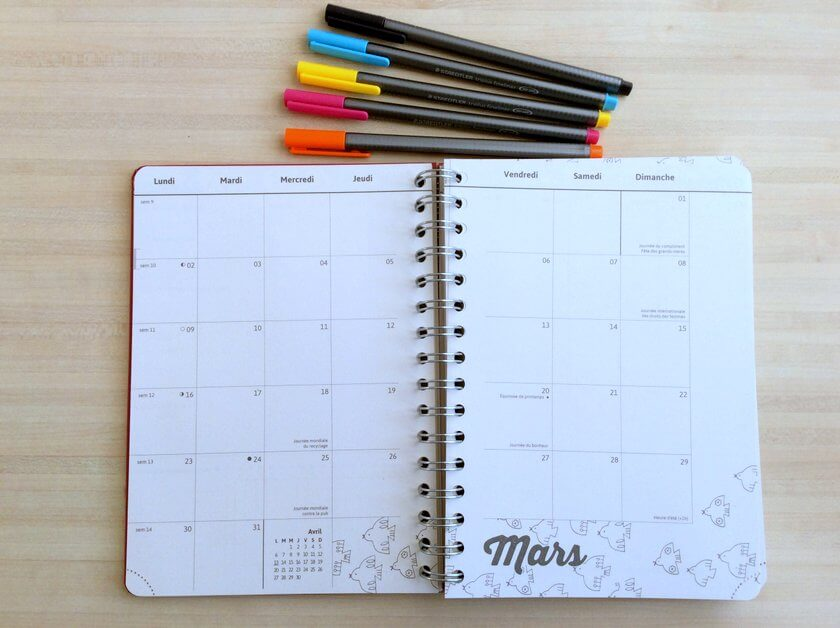 agenda bullet journal mars