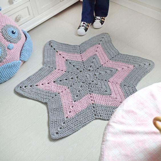 tapis en forme d etoile au crochet