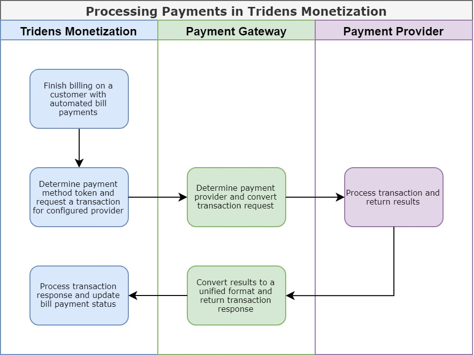 Processing Payments in Tridens Monetization