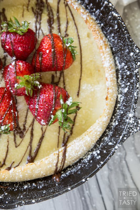 Chocolate Covered Strawberry Dutch Baby Pancakes // Tried and Tasty