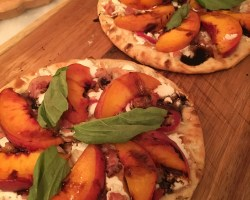 grilled peach flatbread - Grilled peach & pancetta flatbread