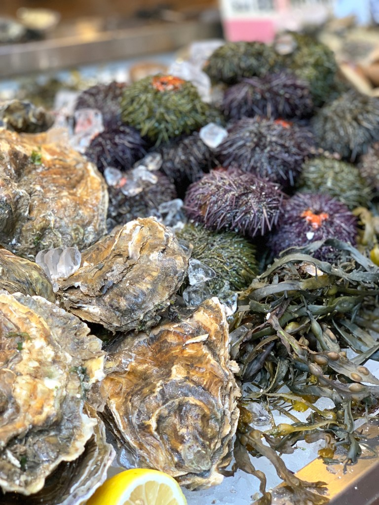 Oysters and sea urchin at the Borough Market in London