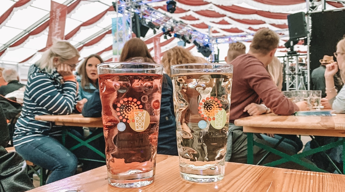 Wine in pint glasses at the wine hall in Bad Durkheim