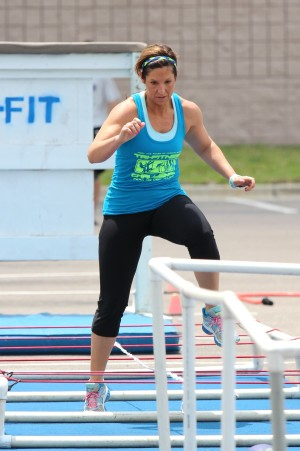 Athletes Moms - Blondina tackles the True Grit obstacle course, at the 2015 Tri-Fitness Challenge, Tampa, FL.