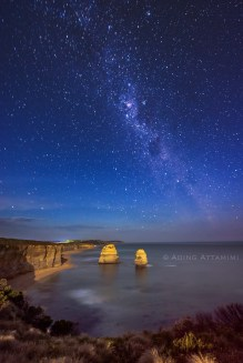 Milky way over Gibson steps, Port Campbell VIC taken at Night