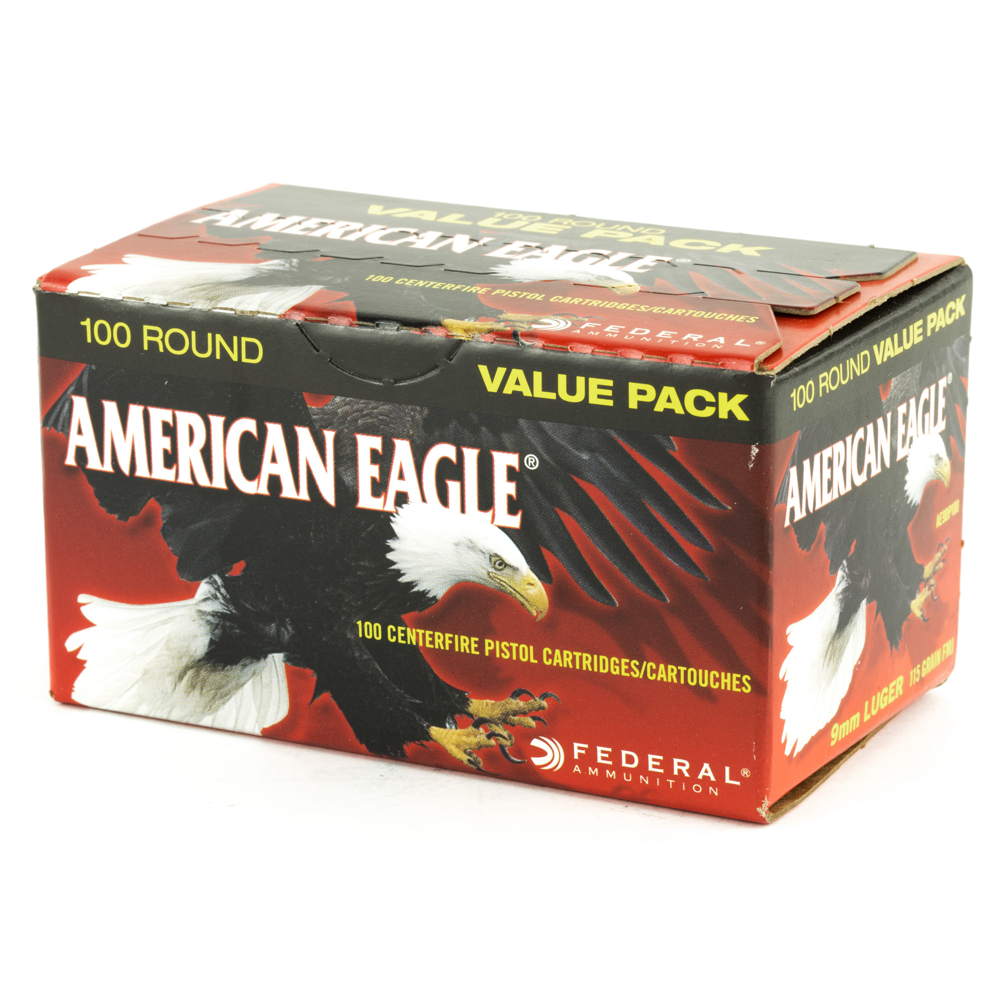 Federal American Eagle 9mm 115gr FMJ 100 Round Box - Trigger Depot