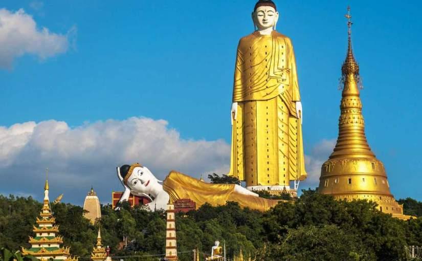 Myanmar La Imagen de El Buddha de Pie mas grande del Mundo