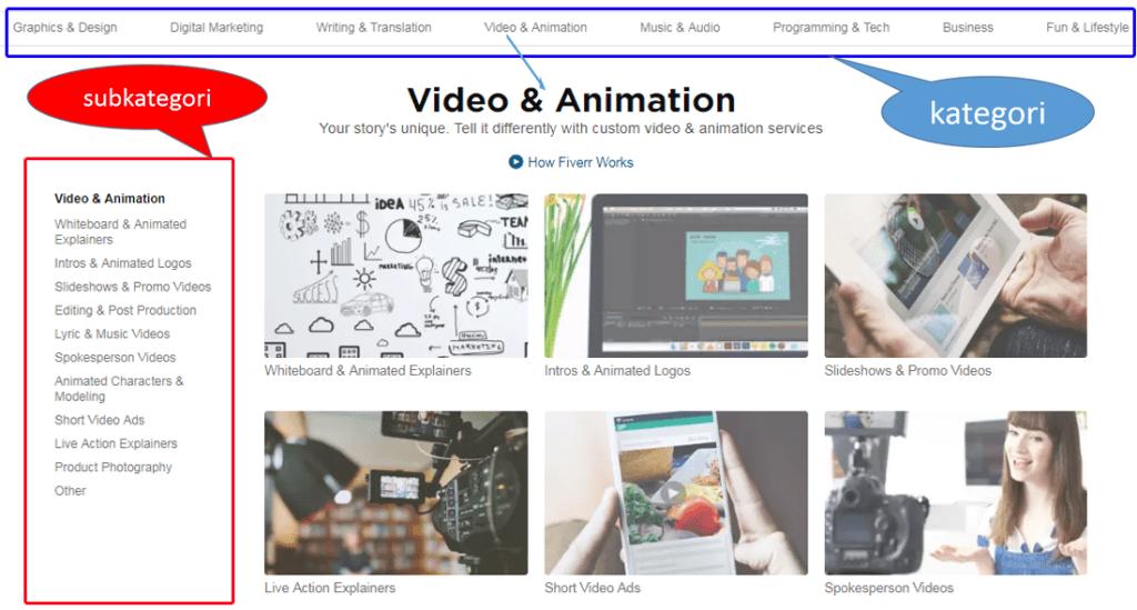 Subkategori di Kategori Video & Animations fiverr