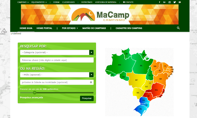 Site MaCamp- Acampamentos e campings