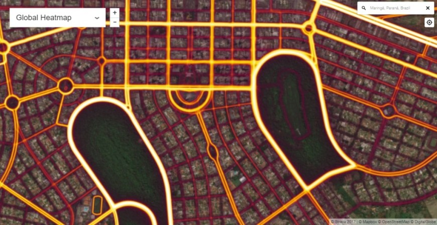 Região central de Maringá. Em destaque catedral e Parque do Ingá