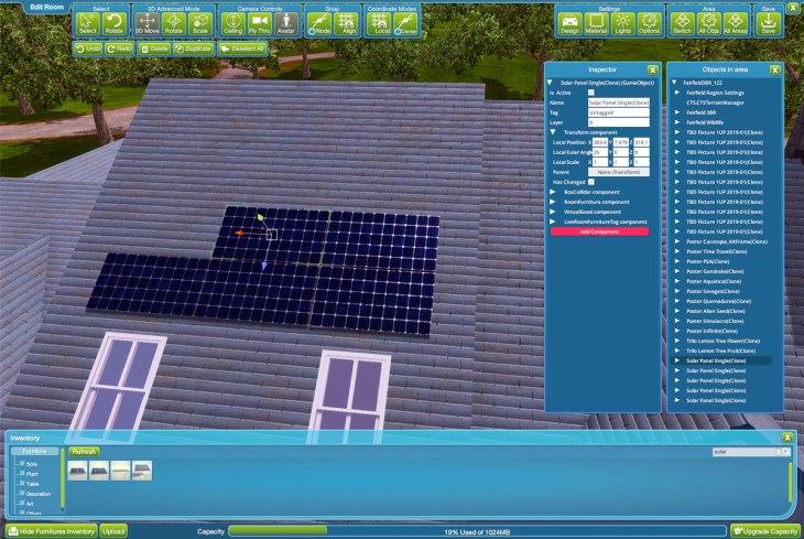 Solar Panels room editor
