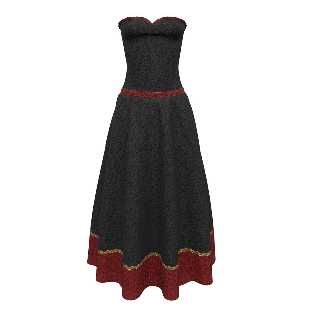 Allegro Gown in Black & Red