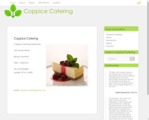 Screen shot of Coppice Catering Website