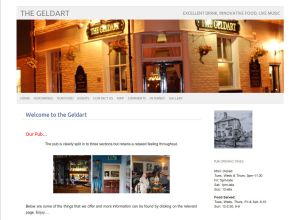 Screen shot of The Geldart Pub Website