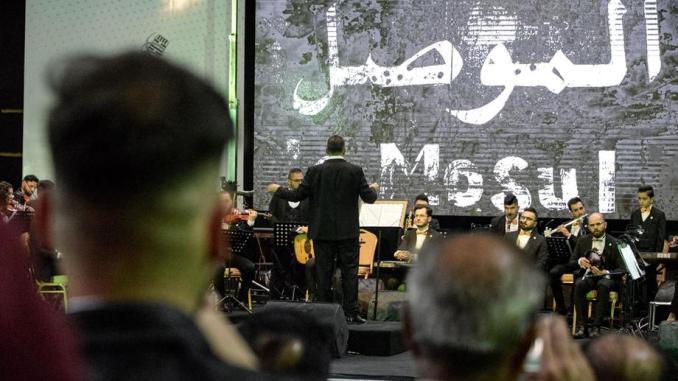 Mosul orchestra performs in restored Al Rabea Theatre