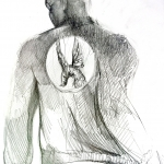 Studio per giubbino con logo Piccione Tigrato, 2015, disegno preparatorio