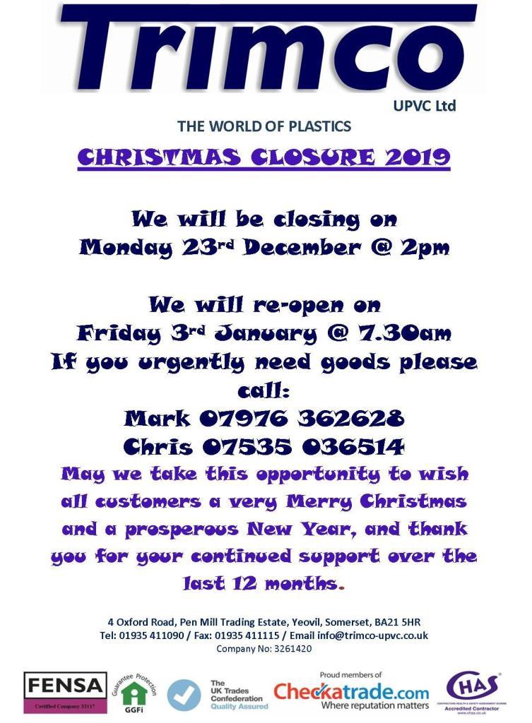 Christmas Closure 2019