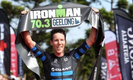 Sam Appleton ganador en el Ironman Geelong en Australia.