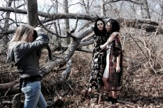 Here's a shot of Lauren with Lenka and Alexandra in some really prickly looking woods. Oh boy was it hard to get around.