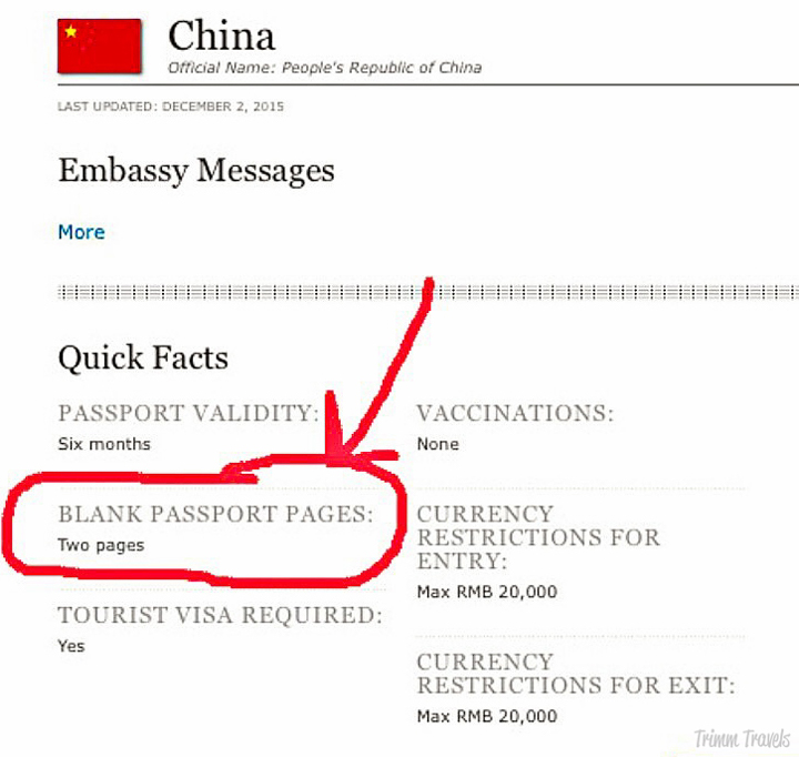 How to find blank passport page requirements example China