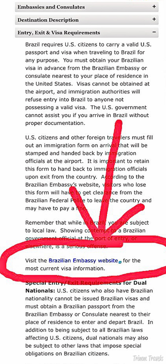 How to find country visa requirements example Brazil click on embassy website
