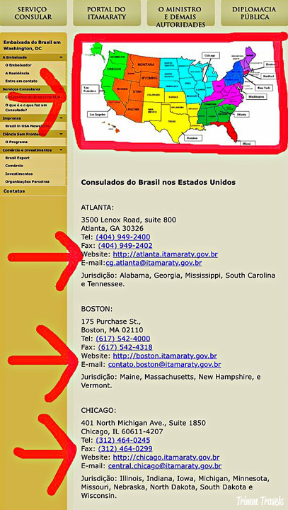 Brazil embassy visa website examples of US application centers