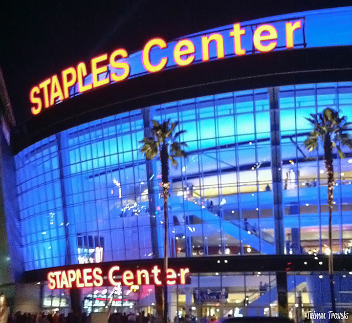 nighttime exterior view of Staples Center downtown Los Angeles California