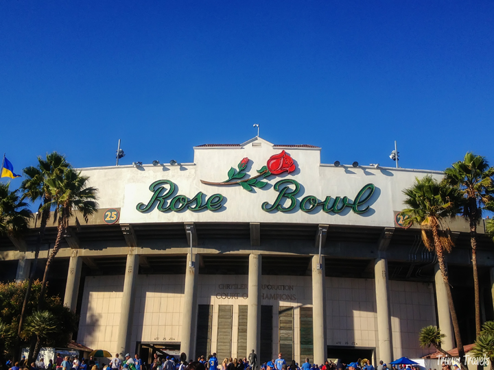 Exterior front view of the Rose Bowl in Pasadena Los Angeles, California