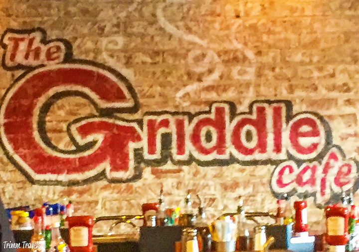 Interior shot of The Griddle Cafe sign painted on the wall Los Angeles California