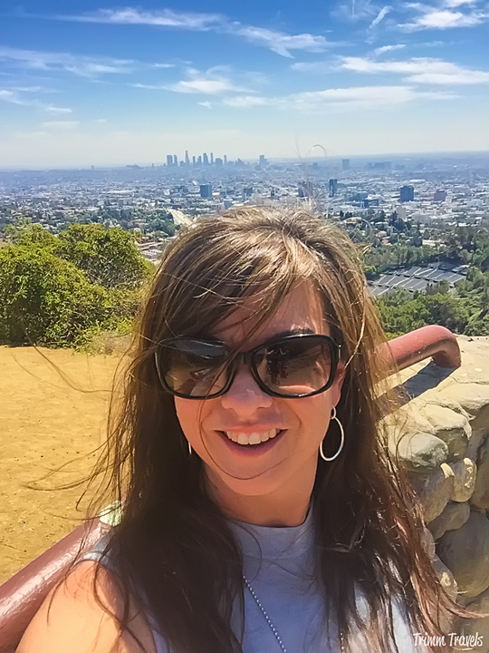 Selfie in the Hollywood Hills with downtown Los Angeles California behind me