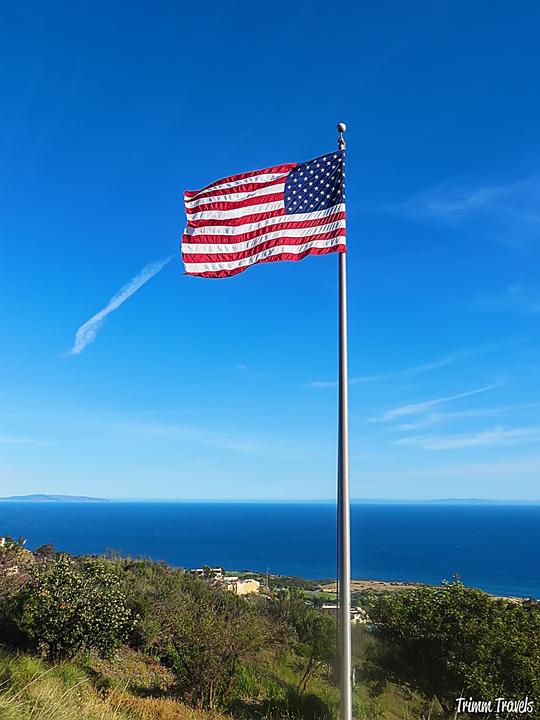American Flag with Pacific Ocean in background at 9/11 Memorial Pepperdine University Malibu Los Angeles California