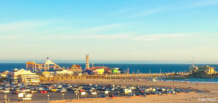 Looking out at the Santa Monica Pier at sunset Los Angeles California