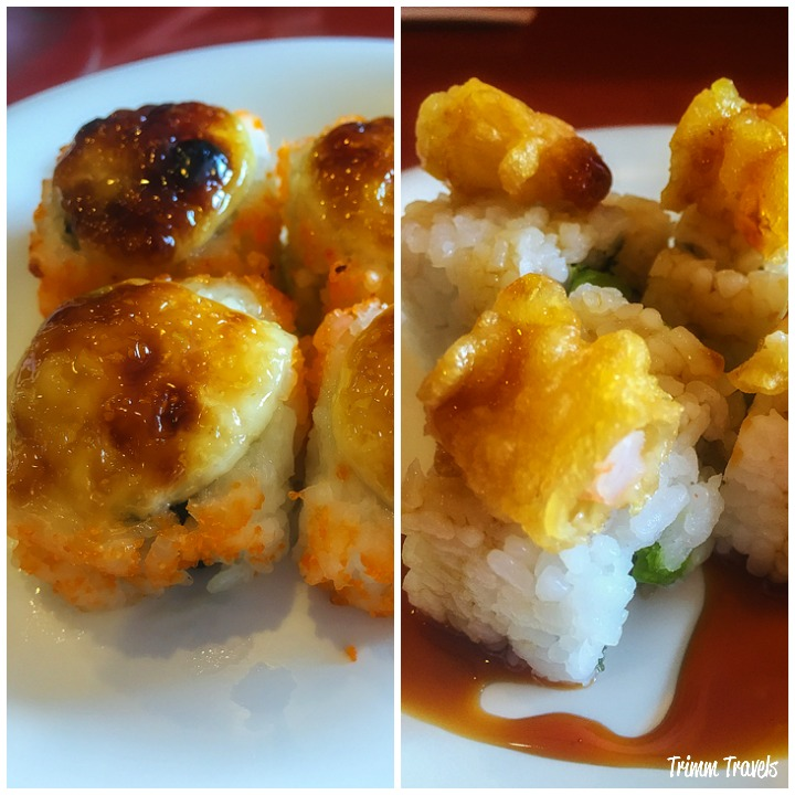 Collage of Dynamite Roll and Shrimp Tempura California Roll from Sushi Koo Los Angeles California