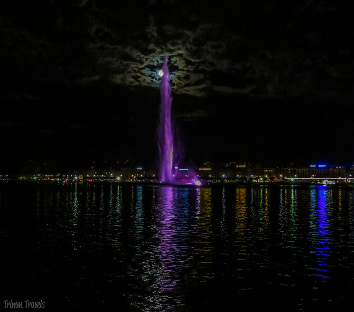 Jet d'Eau Illuminated at Night Geneva