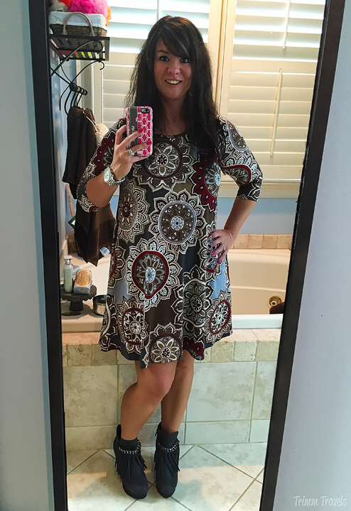 Fall Taupe Gray Pattern Dress Gray Booties