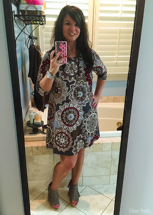 Fall Taupe Gray Pattern Dress Taupe Wedges