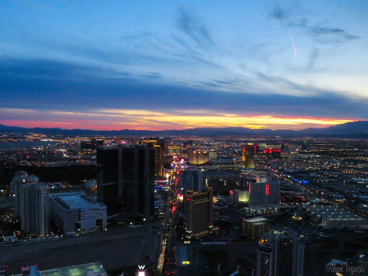 view of the Las Vegas strip at twilight from the Stratosphere
