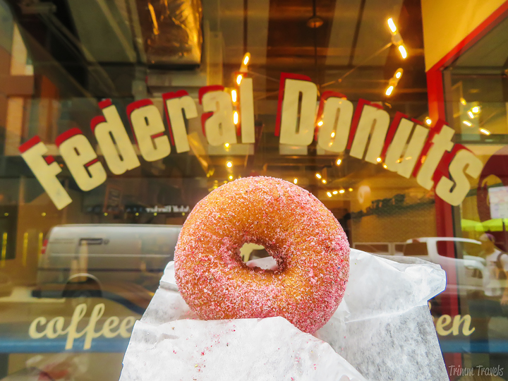strawberry lavender donut at federal donuts- unique restaurants philadelphia