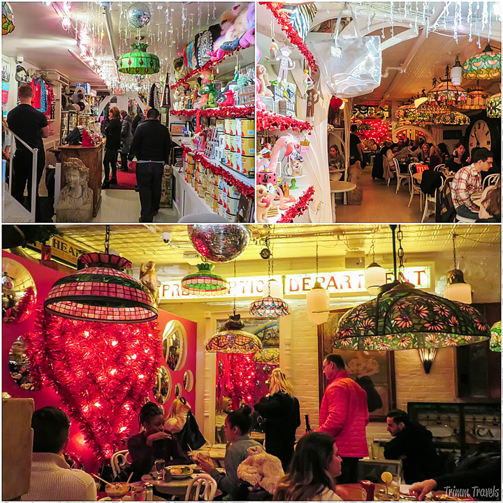 collage of different views of the interior of Serendipity 3 in New York City