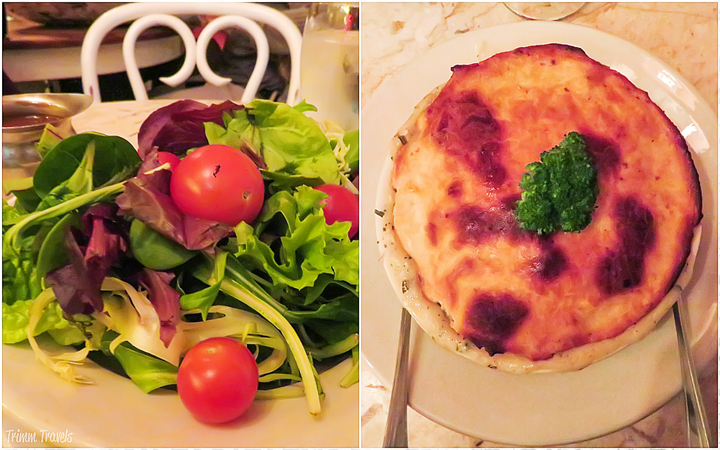 side salad and chicken pot pie from Serendipity 3 in New York City