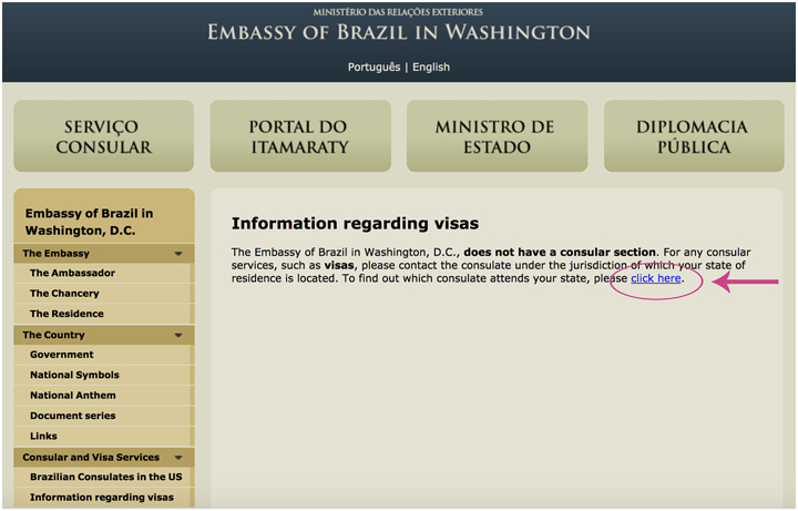 screenshot of embassy of brazil in washington-Travel Visa