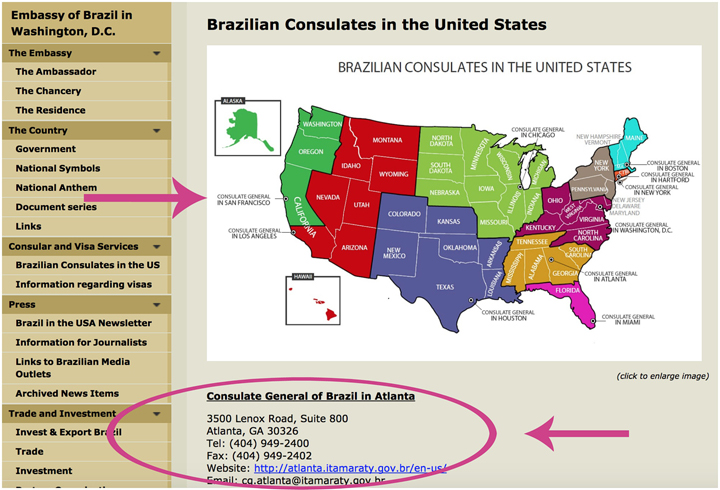 screenshot of brazilian consulates in US-Travel Visa