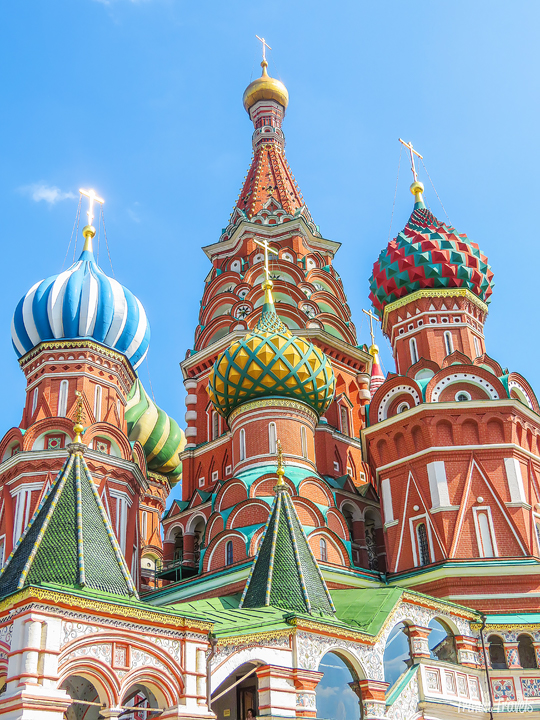 close up of the domes of St Basil's Cathedral Moscow Russia