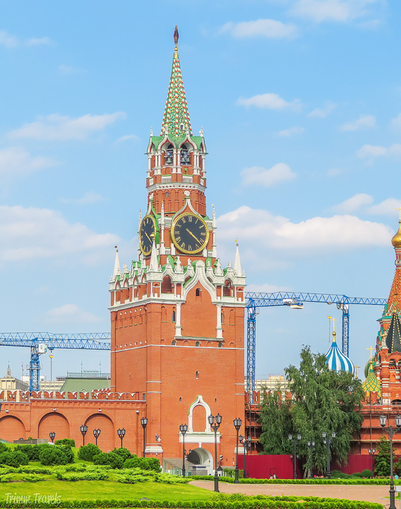 Spasskaya Tower from outside Red Square in Moscow Russia