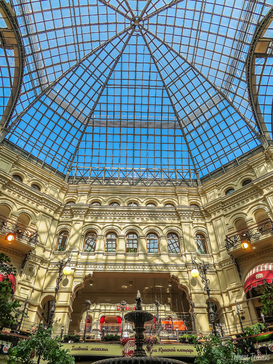 sky dome inside the GUM in Red Square Moscow Russia