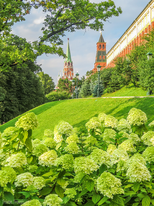 Alexander Gardens with view of Trinity Tower in the background Moscow Russia