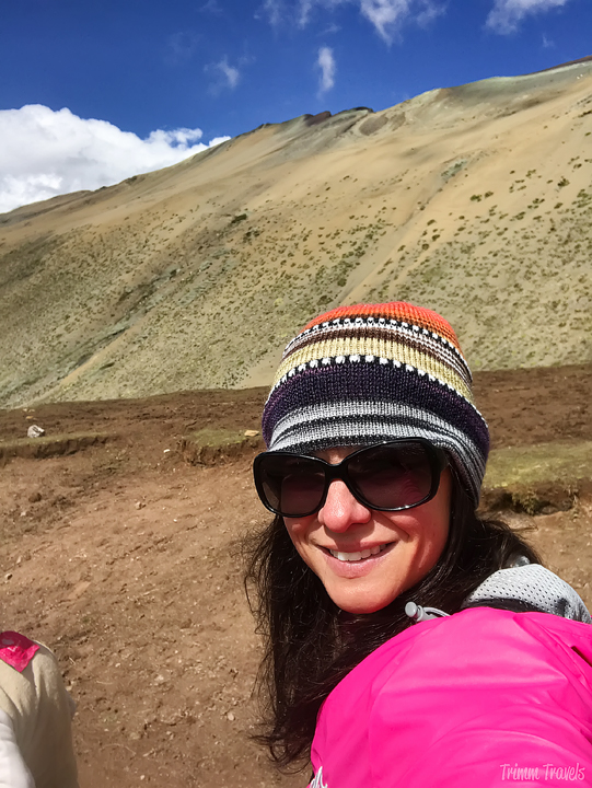 selfie of me on the way up to Rainbow Mountain Peru