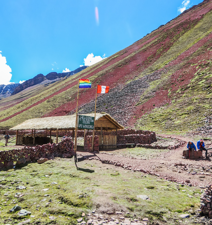 the control area for Rainbow Mountain Peru wth Peruvian flag