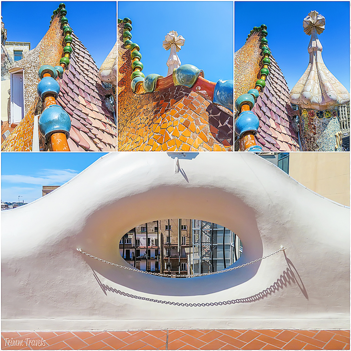 collage of roof and rooftop views from Casa Batllo A Gaudi Barcelona Tour