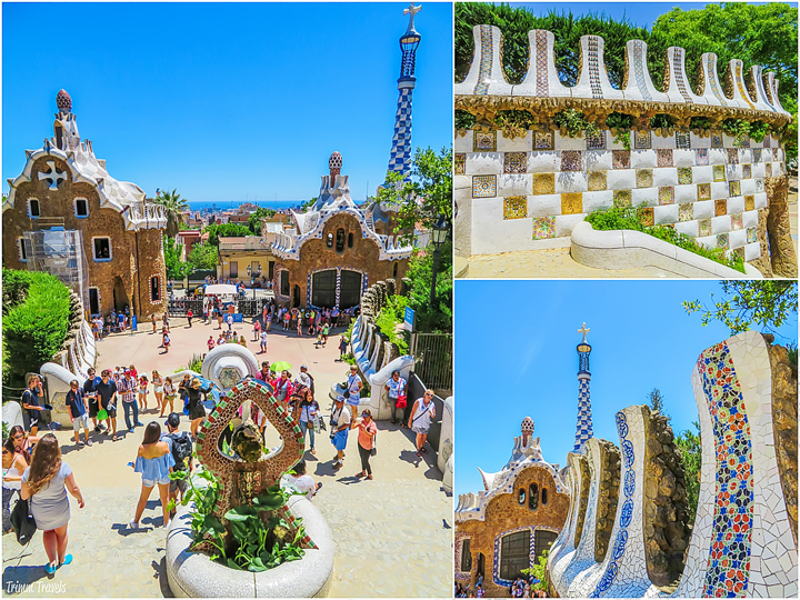 collage the hansel and gretel looking houses and the mosaic border walls of Park Güell A Gaudi Barcelona Tour
